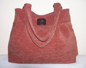 16- bag, purse,tote, red-brown,handmade