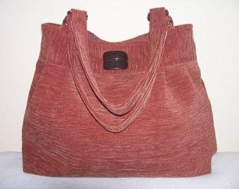 16- bag, purse,tote, red-brown,handmade