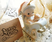 Vintage 1988 New in Box with Tags Precious Moments Baby's First Christmas Special 1988 Porcelain Boy in Sleigh Ornament Never Displayed