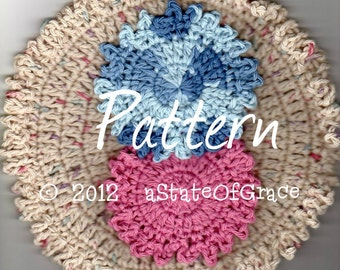 Washcloth and Facial Scrubbie, Crochet PATTERN , Ruffled Edge Set #2, INSTANT DOWNLOAD