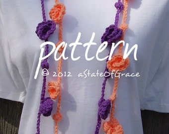 Lariat Scarf PATTERN, Roses and Bobbles, Crochet, Bunting, Garland, INSTANT DOWNLOAD