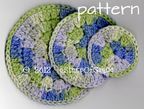 Luxurious Facial Scrubbies, Crochet PATTERN, 3 sizes, INSTANT DOWNLOAD
