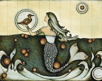 Mermaid Drawing, Illustration of Beautiful Mermaid Swimming, Blue Green Ocean Waves, Mermaid Home Art Decor, Nautical Art Print