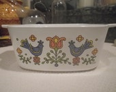 Corning Ware 1.5 Quart Casserole Dish Vintage Festival Pattern Country