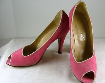 GAROLINI Pink Suede Peep Toe Heels with White Leather Trim Size 8S 8 Slim