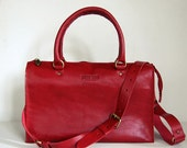 Cherry Red Sophia Bag 12 inch - Handstitched leather handbag