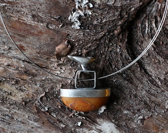 Bird  on Silver and Stone pendant
