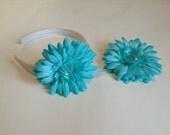 Turquoise Blue Flower Headband and Hair Clip Set - Girls, Women Hair Accessory