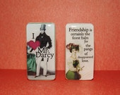 Set of 2 Magnets Featuring Jane Austen Quote & Mr. Darcy on Recycled Vintage Dominos
