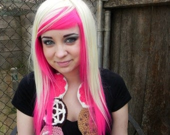 Prima Donna / Hot Pink and Blonde / Long Straight Layered Wig