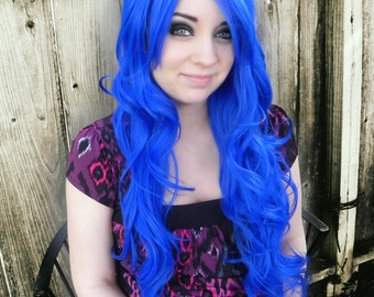 Sea Spray Goddess  / Blue / Long Curly Layered Wig With Natural Scalp Piece