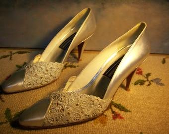 Stuart Weitzman Silver Embroidered heels