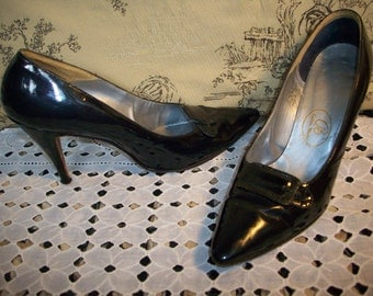 FONTAINE Martinique custom made heels patent leather navy blue REDUCED