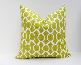 Decorative Throw Pillows Green Pillow Cover.Lime Green Pillow 20x20 inch.Housewares.Home Decor.Printed fabric both sides