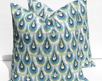 Decorative Throw Pillows Blue Pillow - Green Pillow  Throw Pillow Covers 20x20 Pillow Burlap Pillow Ikat Pillow - Ikat Pillow Cover -