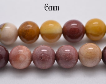 15 inch strand of Mookaite smooth round beads 6 mm