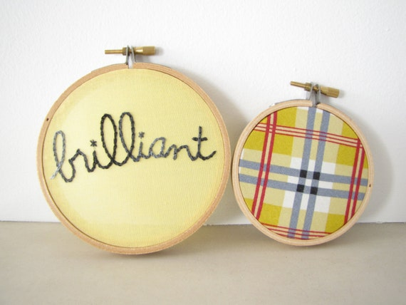 "Embroidery Hoop Wall Art Set of Two - ""brilliant"" in mustard yellow, grey, red tartan plaid, British, preppy, graduation gift, dorm decor"