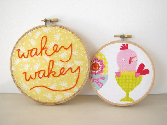 "Embroidery Hoop Wall Art Set Home Decor - ""Wakey Wakey"" kitchen bedroom good morning wake up sunny spring chick, yellow, tangerine"