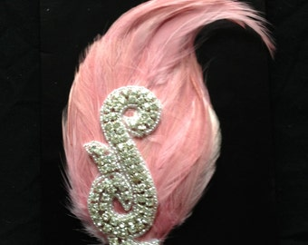 Ballerina pink feather and rhinestone hair fascinator clip