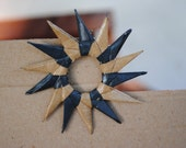 Sun Paper Brooch - eco friendly - Brown and Blue