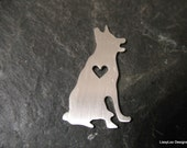 "Sterling Custom Design Stamping Blank -- 1"" German Shepard Shape w/ Heart Cut Out"