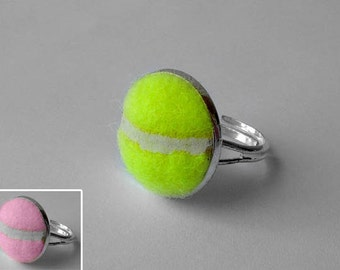 Real Tennis Ball Ring - Handmade Ring From a Yellow or Pink Tennis Ball
