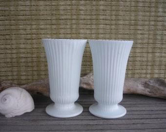 Vintage Milk Glass Vase Pair with Pedestal Base, Shabby Chic Decor, Vintage Wedding