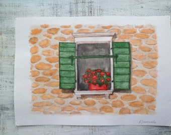 Large original watercolor optimistic painting 12x16 - Summer window with flowers in Dubrovnik, Croatia watercolor nursery art