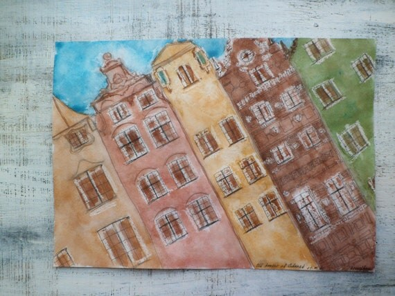 Gdansk old town, large original watercolor 12x16, Poland, Europe watercolor nursery art