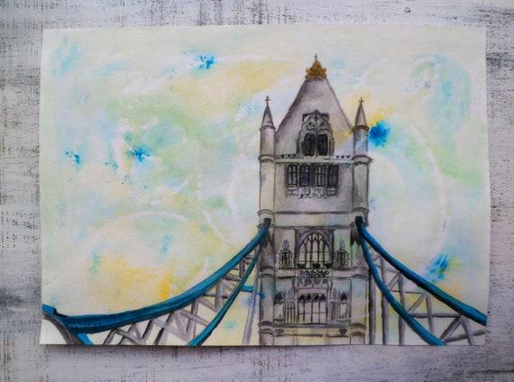 Spring in London, Tower Bridge, large original watercolor 12x16