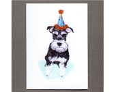 Schnauzer Card, Dog Birthday Party Invitation, 5x7 Art Print