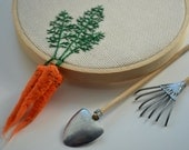 Carrots Hand Embroidered Hoop Art - Easter
