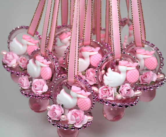 pink baby shower pacifiers necklace 12 pcs rhinestone mesh pacifiers