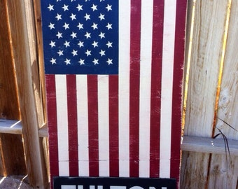 24x48 Personalized Vintage American Flag