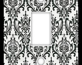 Black White Damask Lightswitch Switchplate Cover, Wood - BeachGurlBoutique