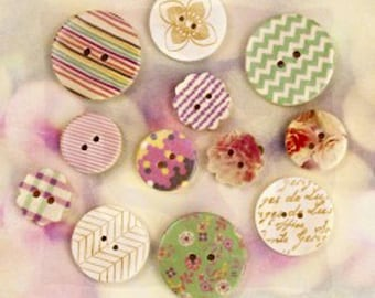 Wood Buttons Hello Pastel Design  Prima Marketing