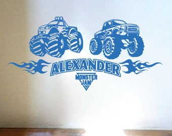 StickTak Stickers MONSTER TRUCK Boys Bedroom Car Vinyl Wall Stickers Boys Art Decals