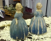 Vintage Chalkware Figurines Young Ladies in Blue Dresses - Set of Two