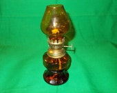One (1), Miniature, Amber Glass, Oil Lamp
