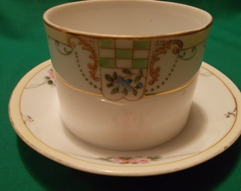 One (1), Porcelain, Hand Painted, Condiment Bowl with Attached Underplate, marked NIPPON.