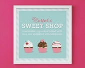 Cupcake Art Print for Birthday Party, Nursery or Girl's Room Decor