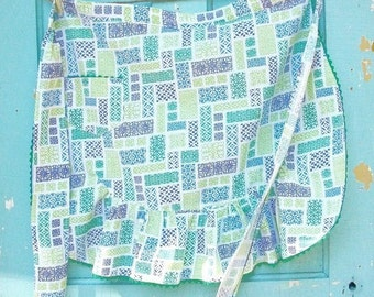 Vintage Cotton Apron Greens, Blues With Green Rick Rack, Pocket Country Kitchen, Cottage Chic, Shabby Chic