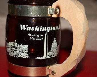 Vintage Siesta Ware Washington D.C. Mug-Great Vintage Collectible With Wooden Handle, Barware, Collectible, Vintage Decor, Serving