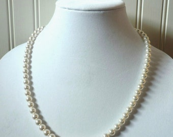 Pearl necklace, 20 inch, bridal pearl necklace, bridesmaid jewelry, bridesmaid pearl necklace, white pearl necklace, bridal pearls, pearls