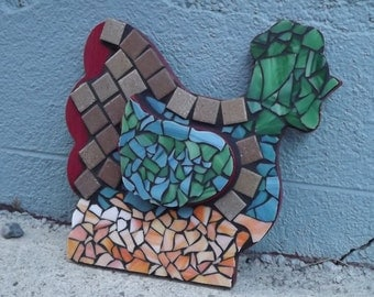 Mosaic Chicken, Rooster, Mosaic Rooster, Farm Animal Mosaic, Kitchen Decor, Home Decor, Stained Glass Rooster, Wall plaque Rooster