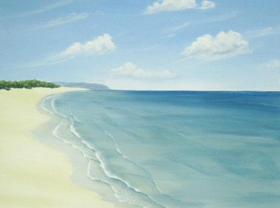 Original Ocean Painting Calm Beach Beach Art Skyscape Fine