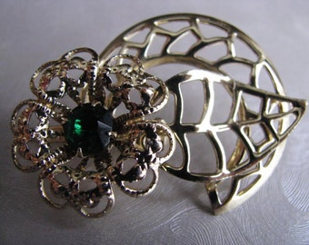 Vintage Flower Brooch - Vintage Emerald Brooch