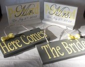 Gray and Yellow 4 Piece Mr. Mrs. Layered Stand Signs/ Here Comes The Bride