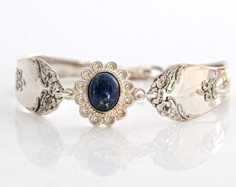 Vintage Spoon Bracelet - Beverly Silverware Spoon Bracelet - Lapis Silverware Jewelry - Spoon Jewelry - Spoon Bracelet (mcf 190)