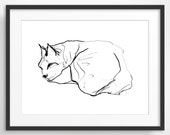 Sleeping Cat Art Print, Nursery Decor, Bedroom Decor, Animal Art, Gift for Cat Lover, Pen and Ink Drawing, Giclee Print